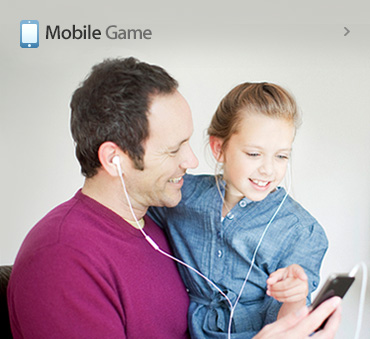 happy family doing mobile game
